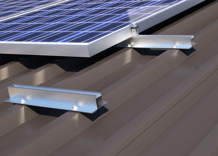 Mini rail solar racking system for metal roof