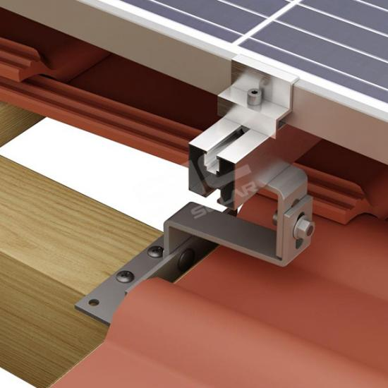 Adjustable solar tile roof hook
